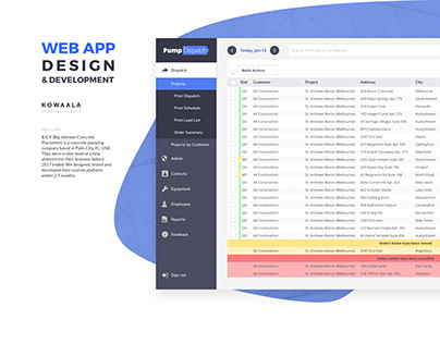 PumpDispatch, Web App to Dispatch Equipment