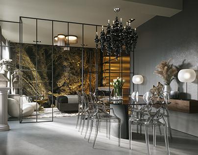 Interior visualization of a renovated Berlin loft