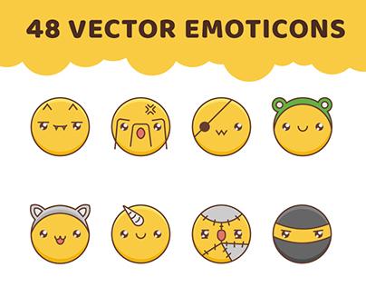 48 vector emoticon icons