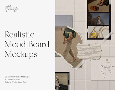 Realistic Mood Board Mockups PSD