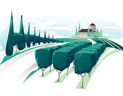 Vineyard landscape and wine set vector illustration