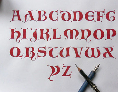 Hand lettering. Lombarda Calligraphy