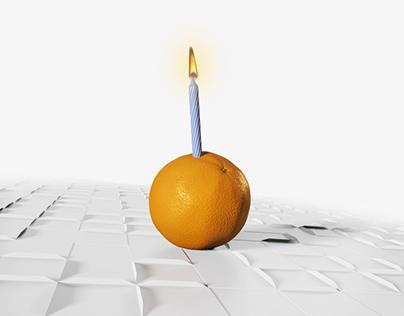 Fractal Orange Birthday