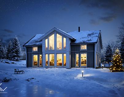 Norwegian winter house 2, full 3d