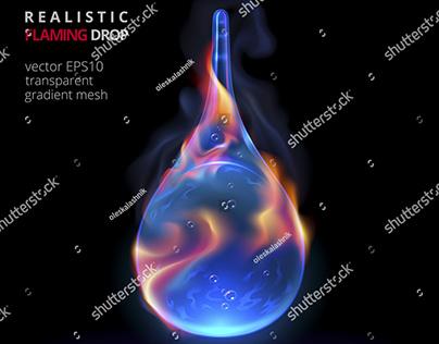 Vector Flaming Drop
