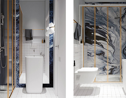 blue marble bathroom