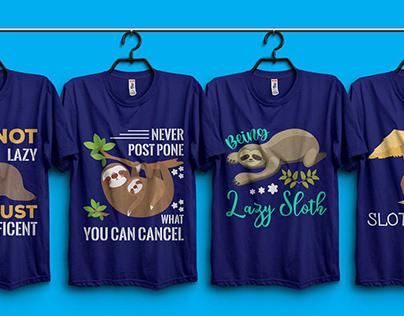 SLOTH T-shirt Design Bundle.