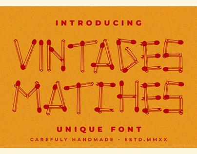 Vintages Matches -matches stick font-
