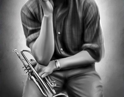 Miles Davis Digital Oil Painting by Wayne Flint