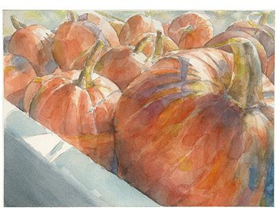 a truckload of pumpkins