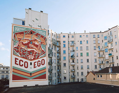 """Eco vs Ego"" Wall (Grenoble, France)"