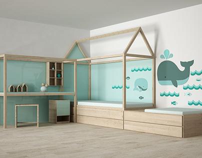 3D MODEL: Children bedroom in scandianvian style