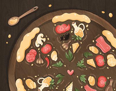 Pizza recipes illustration