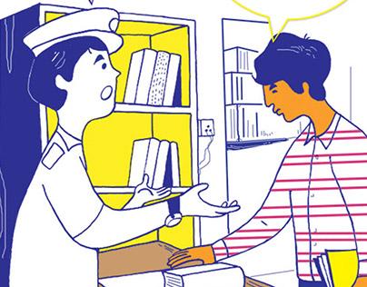 Castom office(India) Comic Strip Illustration
