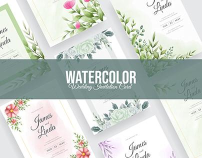 Watercolor Floral Wedding Invitation Card Design