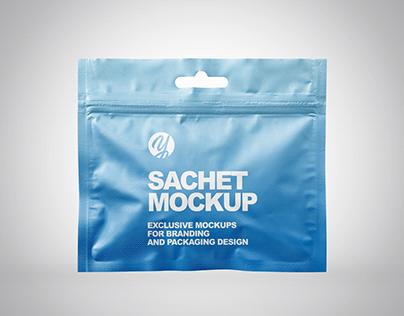 Sachet with Zip Lock Mockup PSD