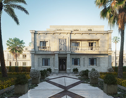 elevation stone villa in Qatar for doctor
