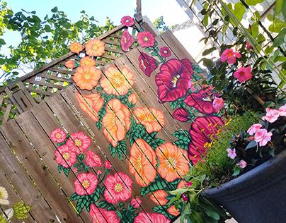 Hollyhock Fence w/Cut-Outs