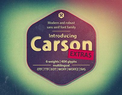 Carson Extras| sans serif typeface
