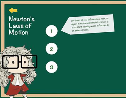 """Newton's laws of motion"" info graph design"