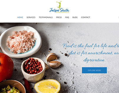 Nutritionist Website Design - In Wordpress