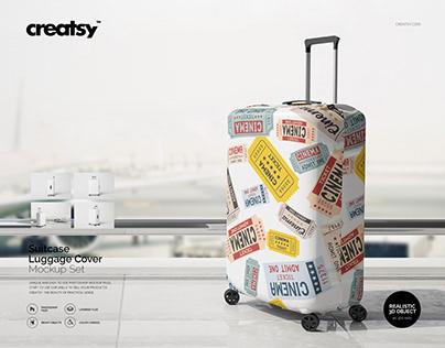 Suitcase Luggage Cover Mockup Set