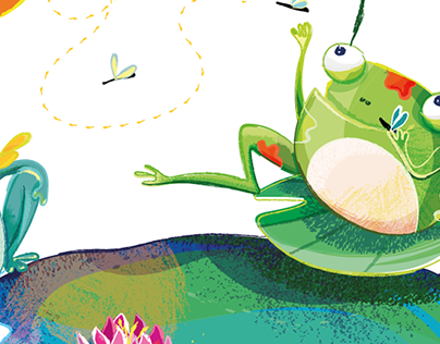Frogs chilling_ Decorative children illustration