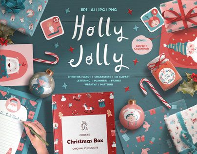 HOLLY JOLLY | Set of Christmas illustrations
