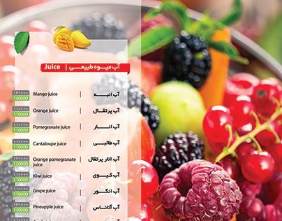menu design / hotel shiraz/ jiuce bar