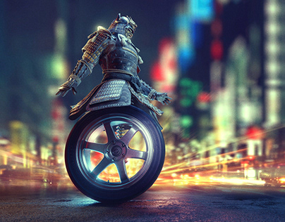 """Wheeled Samurai"" Ad Visual for Yokohama Tires"