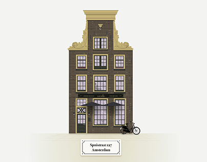 Illustration of 18th century Amsterdam building