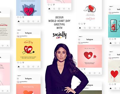 design world heart day greeting, post & story wish