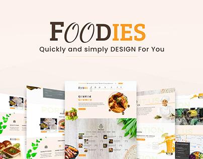 Foodies Landing Page Design ( Web UI)