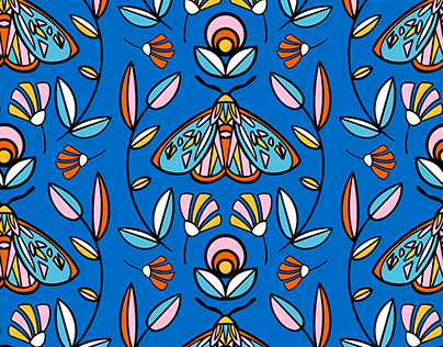 """Stained Glass Moths"" repeat pattern"