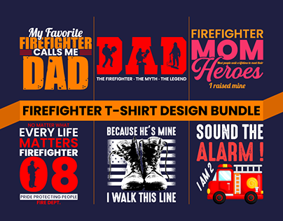 FIREFIGHTER T-SHIRT DESIGN BUNDLE