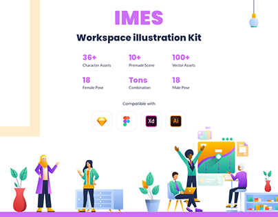IMES Workspace themed 2D Illustration kit