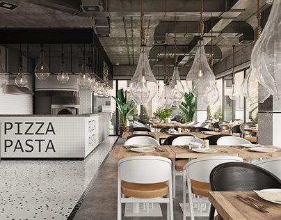 Contemporary pizza-pasta restaurant in Almaty, Kazakhst