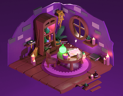 Poison Witch's Room! Blender3D