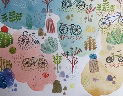 Jardín de bicicletas