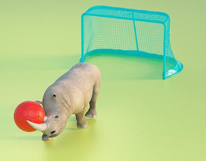 Rhino loves defending.