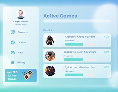 Glassmorphism gamers dashboard created using HTML & CSS