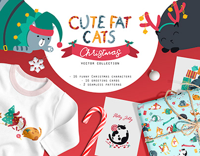 Cute fat cats. Christmas vector collection.