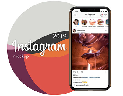 Instagram mockup template 2019 PSD Sketch download