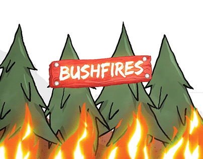 Australian Bushfires Infographic Cartoon