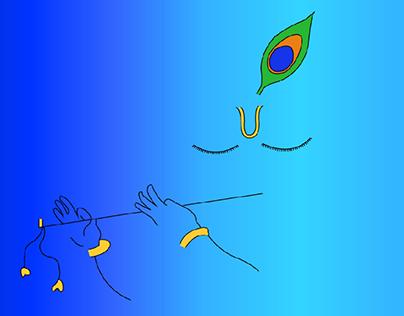 Sri Krishna playing flute