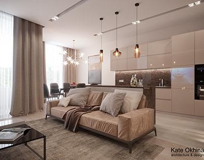 """Дизайн квартиры в стиле """"Монохром"""" для молодой семьи"""