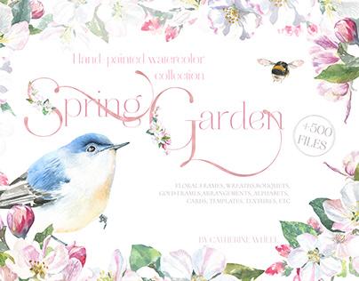 Spring Garden Floral Watercolor. Spring Birds, florals