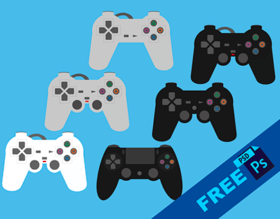 PS4 Controllers flat FREE PSD