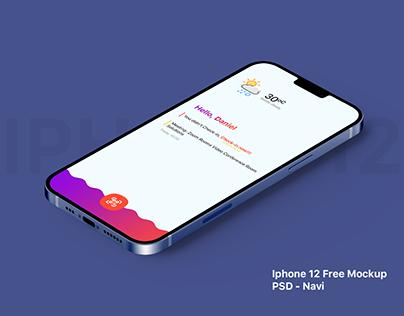 Free iPhone 12 Navi Mockup - PSD
