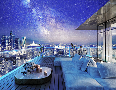 Design and visualisation of penthouse in Moscow city